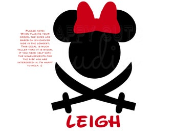 Personalized Pirate Carribean Sword Minnie Mouse Disney Magic Cruise Vacation Aulani Matching Family Disney Iron On Decal Vinyl 4 shirt 057