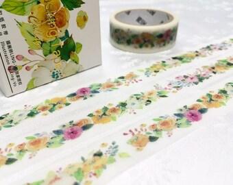 Pretty flower washi masking tape 10M retro flower sticker tape garden flower tape vintage flower colorful flower garden planner sticker gift