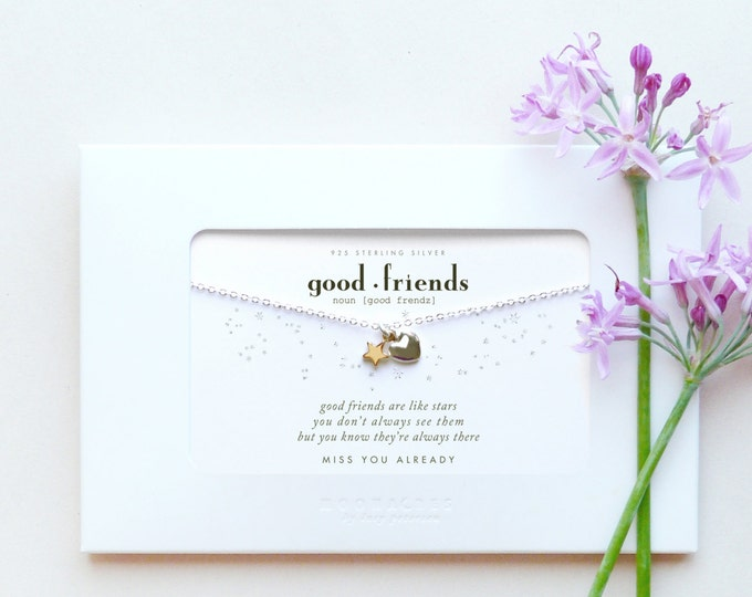Good Friends Are Like Stars | Gold Filled + Sterling Silver Heart Star Necklace Friendship Poem Quote Message Card Sweet Long Distance Gift