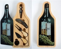 Wine Bottle Gift Set - Personalization Option - Cheese Tray Cutting Board and Utensils - Wine Theme Gift - Wine and Grapes Artwork - Barware
