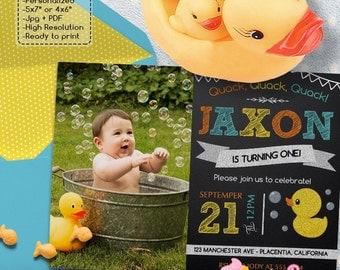 Rubber Duck Chalkboard Birthday Party Photo invitations DIY Rubber ducky printable Birthday invite
