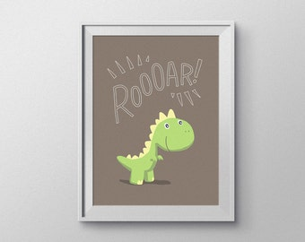 Baby T-Rex Dinosaur Nursery Art. Brown-Themed, Hand Rendered Digital Download.