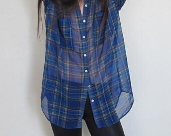 80s Vintage Oversized Chiffon Shirt