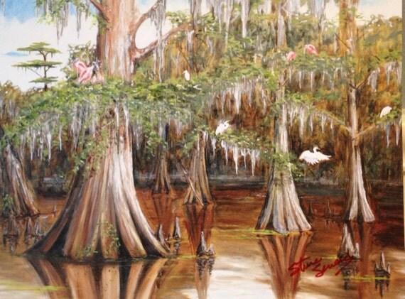 Swamp Bird Gathering Cajun Decor Acadiana Art Man Cave