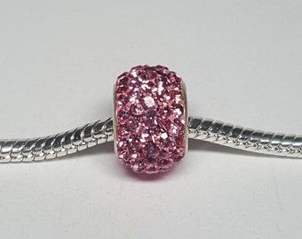 Pink Rhinestone Bead for European Bracelets (item R007)