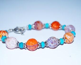 Jasper, Turquoise and Sterling Silver Bracelet