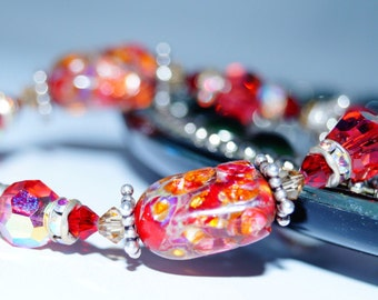 Antique Red Glass, Swarovski Crystal and Sterling Silver Bracelet
