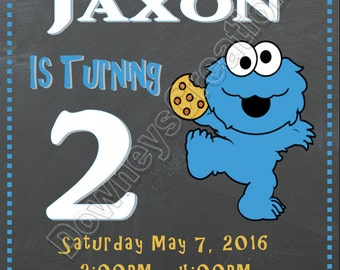 BABY COOKIE MONSTER Birthday Invitation