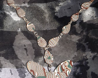 Polymer clay necklace with butterfly pendant cord suede, color: multicolor, handmade.
