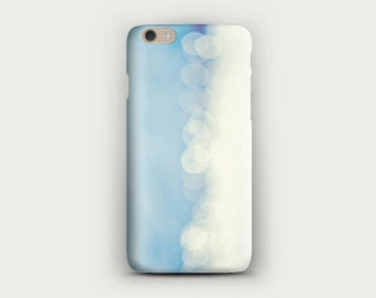 light blue iPhone 6 plus case Soft Silicone case iPhone 5s Abstract Sparkle Bokeh Blue and White Photography Print Birthday gift for her