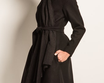 001 - Wool Overcoat with Attached Scarf