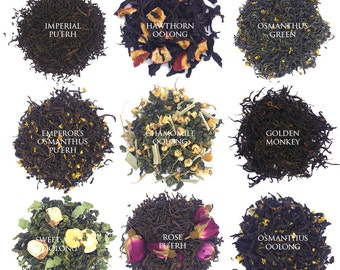 Loose Leaf Tea Sampler + 20 pcs tea filter pouches - more than 40 choices, Black Tea, Puerh, White Tea, Herbal Tea, Green Tea, Oolong Tea