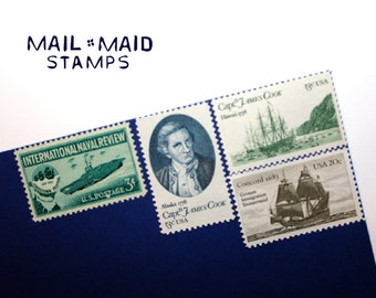 Out to Sea || Set of unused vintage postage stamps to mail 5 standard letters