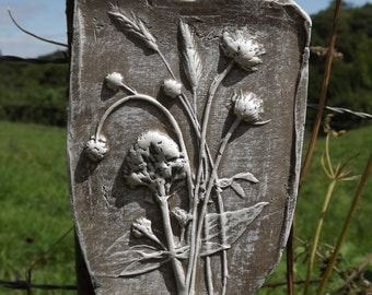 Rustic clay wall art, natural wild flowers and grasses impression, clay and white colour