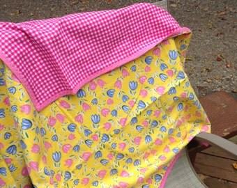 Senior lap blanket, Tulip flannel blanket, flower blanket, pink flower, blue flower, pink gingham blanket, flannel throw, flower throw