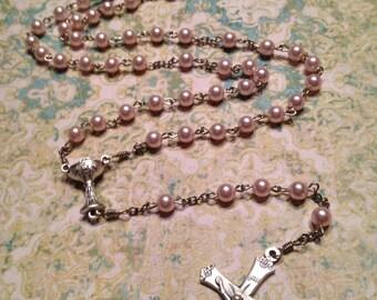 Pink Swarovski Pearl Handmade Rosaries