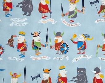 Viking Fabric - Light blue fabric - Boys fabric - Dressmaking fabric - Cotton fabric - Fabric UK - The Vikings cotton - Childrens fabric
