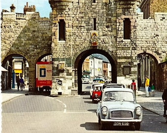 British Postcard, York England, Micklegate Bar, 70s Postcard, Vintage Cars, Travel Postcard, Color Photo Postcard, Unposted