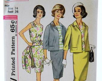 Vintage 60s Simplicity 4800 Sewing Pattern Mod Suit Cropped Jacket 3/4 Sleeve Skirt Fitted Top Size 14; Bust 34
