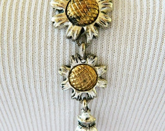Vintage 1995 BG Sunflower Lariat Necklace, Statement Necklace, Floral, Boho Chic, Silver Tone, Signed, Retro, Costume Jewelry