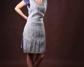 Womans Linen apron. Comfortable and Stylish Smock apron. Linen Apron Dress, full apron.