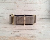 MADE TO ORDER- Solid Grey Dog Collar, Choose width- Buckle or Martingale- add Embroidery and/or Leash