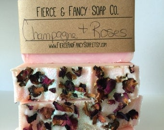 CHAMPAGNE & ROSES SOAP   Cold Process Soap   Handmade Soap   *Fancy*