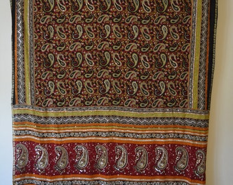 Red and Black Paisley Saree Wallhanging