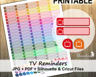 50% SALE, Tv Reminder Printable Planner Stickers, Erin Condren Planner Stickers, Tv Stickers, Tv Printable Stickers Reminder - Cut Files