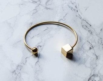 Gold Geo Bracelet / Open bangle bracelet / gold bracelet / thin dainty bracelet / stacking bangle / geometrical bracelet