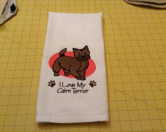 I Love My Cairn Terrier Embroidered Kitchen Hand Towel, Williams Sonoma All Purpose, 100% cotton & Extra Large 20 x 30.
