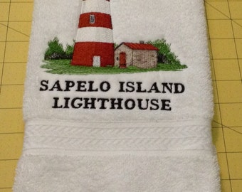 Georgia's Sapelo Island Lighthouse Embroidered Heavy Duty White Hand Towel
