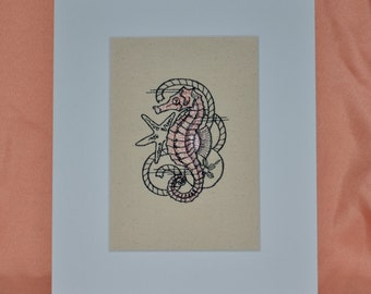 SEAHORSE Embroidery on Canvas Matted 8 X 10  Coastal  Beach  Home Decor