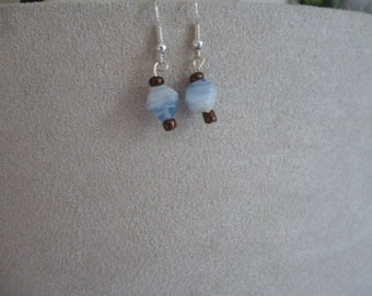 Bronze and Pastel Blue Crystal Dangle Earrings