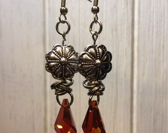 Orange Crystal Drop Earrings