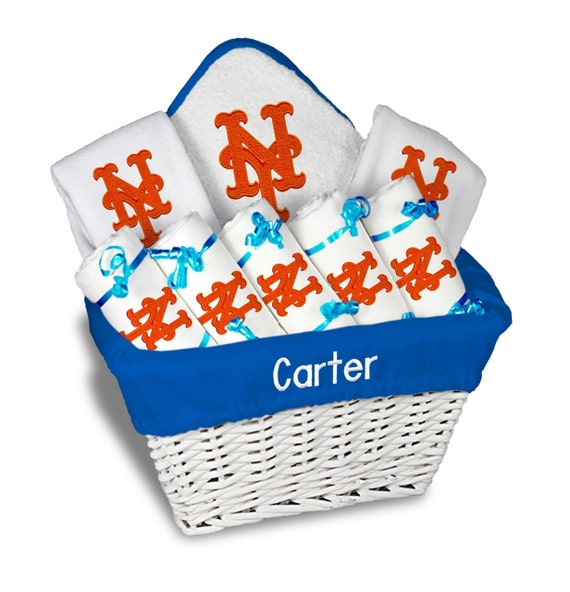 Baby Gift Baskets New York : Personalized new york mets baby gift basket bibs burp