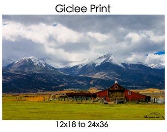 Colorado Mountains with Barn Giclée Print 12x18 to 24x36 // home decor // wall art // colorado photography // mountains