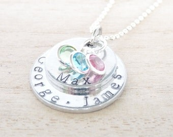 PERSONALISED NECKLACE, For Mother, Grandmother, Handstamped, Childrens Family Names, Birthstones, Womens, Jewellery, Mother's Day, Daughter
