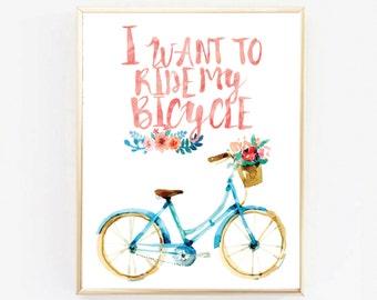 Bike Art Poster, Bike Print, Bicycle Art, Bicycle Wall Art, Bicycle Print, Retro bike, Retro Watercolour Poster, I Want To Ride My Bicycle