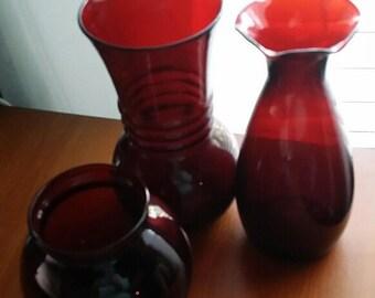 TRIO of Ruby Red vases - vintage