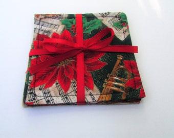 Poinsettia Christmas Coaster Set, Fabric Coaster Set of Four, Christmas Table Decor, Christmas 2017