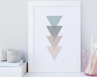 Minimalist wall art, geometric print, Triangle print, wall art print, Beach print, instant download, digital print, home wall decor, shades