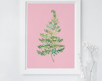 Fern wall art, Botanical art print, leaf wall art, pink plant wall art, office wall art, home decor, minimalist print, nursery plant