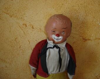 Clown. Vieille poupée chiffon. Monsieur Loyal. Old duk doll. Vintage. France