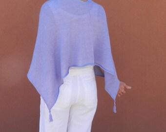 Ponchette, Knit small poncho wrap shawl, periwinkle wrap,blue-purple fine knit, lightweight wrap