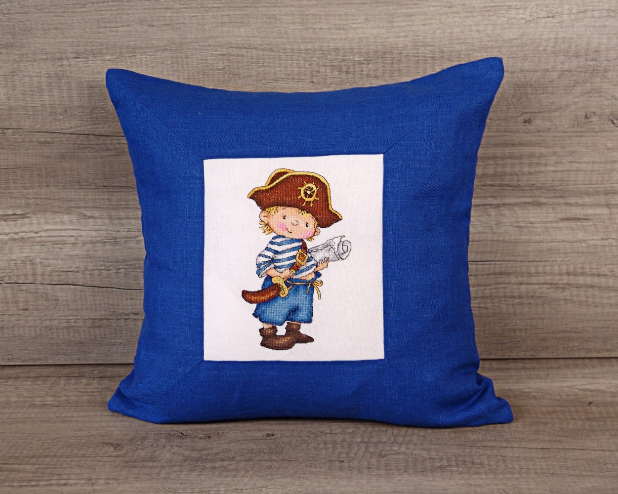 Cute Navy Pillow : Cute navy blue cross-stitch decorative pillow kids pirate
