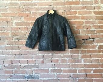 Vintage Patchwork Leather Cropped Jacket