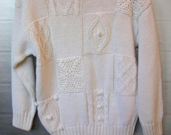 Vintage Knitted Sweater, Cable Knit Sweater, Warm Sweater, Slouchy Sweater