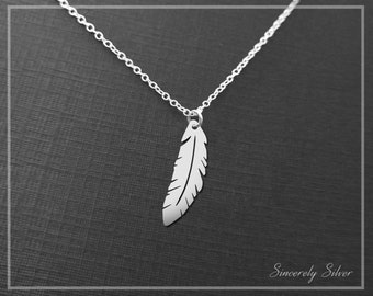 Feather Necklace, Feather Jewelry, Boho Necklace, Silver Feather Necklace, Nature Charm, 4/5 Inch Pendant