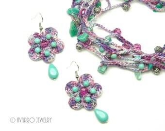 Purple Turquoise Blue Crocheted Beaded Jewelry Set, Long Beaded Necklace, Dangle Beaded Earrings, Beaded Wrap Bracelet, Textile Jewelry Set